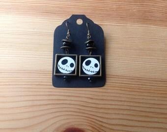 Hand painted wood earrings, Jack