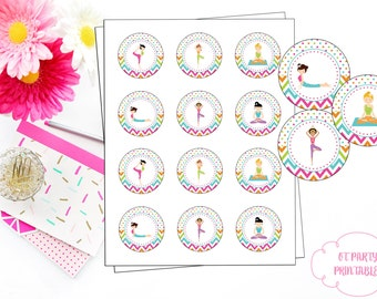 INSTANT DOWNLOAD - Yoga 2 Inch Round Labels - Yoga Birthday Party - Yoga Label - Yoga Cupcake Topper - Yoga Printables - YOU Print