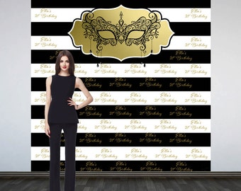 Masquerade Elegance Personalized Photo Backdrop -Mask Photo Backdrop- 21st Birthday Step and Repeat Photo Booth Backdrop