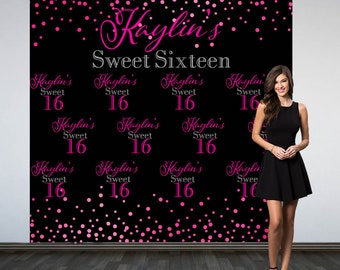 Sweet 16th Personalized Photo Backdrop -Birthday Party Photo Backdrop- Custom Party Photo Backdrop, 16th Birthday Backdrop