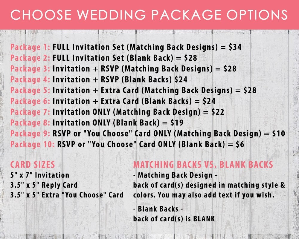 Printable Wedding Invitation PDF Set Or By