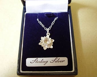 "Sterling Silver Daffodil Pendant Including 18"" Chain"