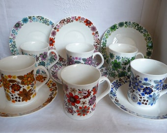 Vintage Harlequin Tea Set 1960s Elizabethan China 'Carnaby' Six Cups and Six Saucers