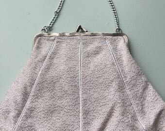 60s white silver lures evening bag