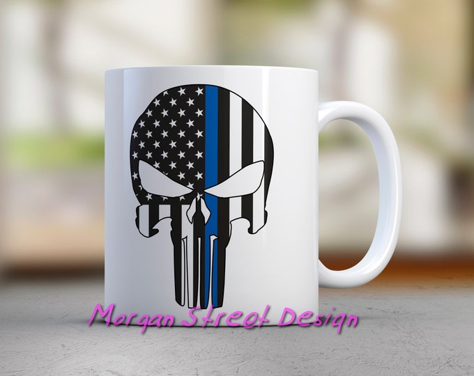 Blue Lives Punisher Flag Coffee Tea Mug 11oz.