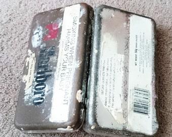 "Rare Collectable Marlboro Tobacco Tin 50g, Old Marlboro EMPTY Tin Size 5.25"" x 3"" x 1"" #588c"