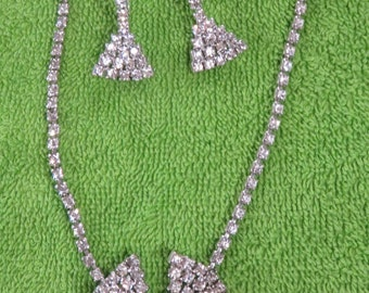 Rhinestone Bow Tie Necklace and Earrings 1940's Vintage