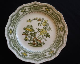 Mason's, MANCHU,  Green Transferware, Salad Plate, Vintage, Boho, Shabby Chic,Cottage, Green and Yellow, Floral, Wall decor