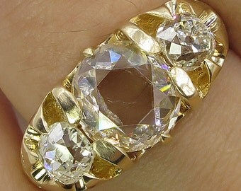 Antique Vintage Rose cut Diamond 3 Stone Engagement Wedding 18k Yellow Gold Ring