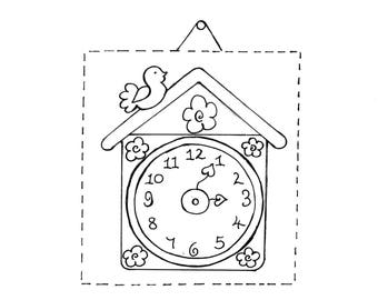A PDF Simple Clock Stitchery for Hand Sewing (Includes Instructions with Template to Trace) This is a Digital Pattern