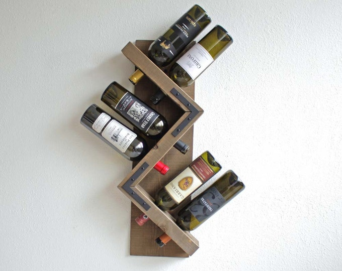 Rustic Wine Rack, Wall Mounted Wine Rack, Wood Wine Rack - Gray Stain