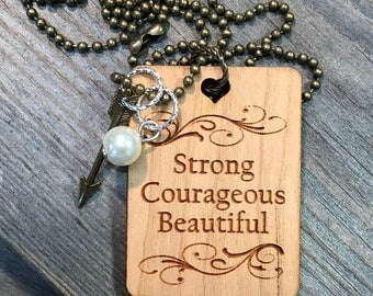 Strong Courageous Beautiful Necklace, Group Gift Ideas, Group Discounts, Wedding Gifts, Laser Engraved, Customized Jewelry, Bursting Barns L
