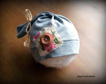 RTS  grey hat, sleepy hat ,Baby girl  tail hat, Newborn baby  prop , NB sleepy photo hat ,baby girl hat,girl photo prop,handmade hat