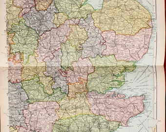 Antique Map : South East England & East Anglia, Bacons c. 1901. Lovely Pastel Colours