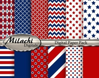 60% OFF SALE USA Digital Paper Pack, Scrapbook Papers - Commercial Use - Instant Download - M126