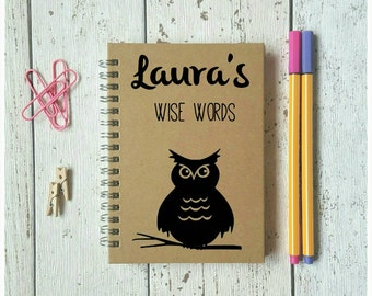 Owl Notebook, A6 Notebook, Jotter, Notepad, Little Notebook, Custom Made, Pocketbook, Small Notebook, Personalised Gift, School Supplies