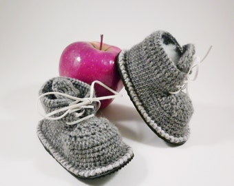 Newborn boy gray booties, crochet baby booties, street booties, first shoes, birthday gift, woolen booties, sports shoes