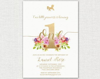 Floral and Gold Unicorn 1st Birthday Invitation / 1st Birthday Invitation/ Baby Girl's 1st Birthday Invitation