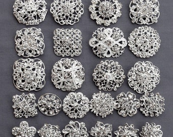 24 Silver Rhinestone Brooch Crystal Brooch FREE Shipping of 20.00 Order Wedding Brooch Bouquet Cake Decoration DIY Kit BR679