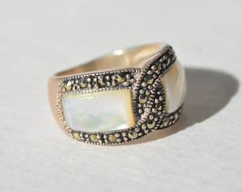Vintage NF Sterling Silver 925 Marcasite Mother of Pearl Inlay Dome Ring Size 7