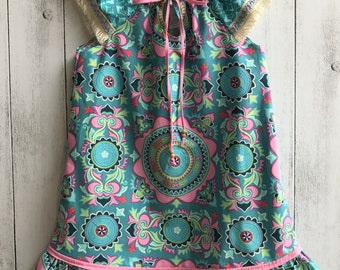 "Boho ""Free Spirit"" dress with tie, ruffle and flutter sleeves - Mandala Design"
