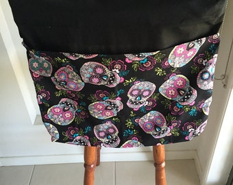 Girl Skulls on Black Library Bag and Chair Bag Combo