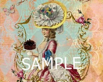 """DISCOUNT LOT of 5 Fabric Art Quilt Blocks  -Marie Antoinette """"Let them Eat Cake""""  Free Shipping"""