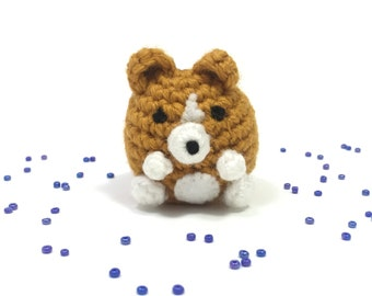 Crochet Amigurumi Cute Kawaii Corgi Dog Small Stuffed Animal Accessory Keychain Christmas Ornament