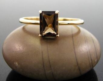 quartz ring, rings for women, Smoky quartz ring gold, 14K gold ring, solid goldring stone ring for girlfriend size 3 4 5 6 7 8 9 10 11 12 13