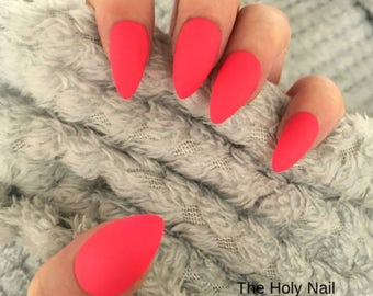 FALSE NAILS - Matte Neon Pink - Stick On - The Holy Nail