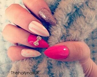 FALSE NAILS -  Pink White Bow, Spots & Stripes - Stick On - The Holy Nail