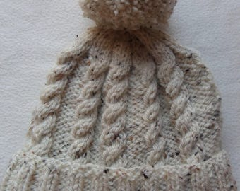 Hand Knitted Cream Bobble Hat