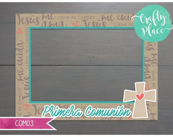 First communion/baptism/religious photo booth cutout frame prop / Printed and ready to use / Personalized / Oversized frame