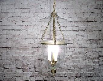 Vintage Chandelier Brass Hurricane Clear Glass Light Fixture Restored