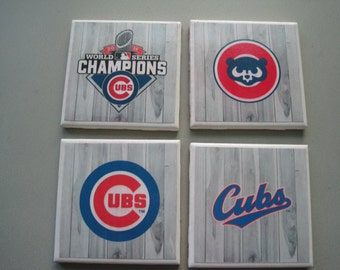 Chicago Cubs Themed Ceramic Tile Coasters - Set of 4