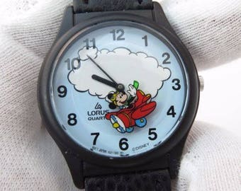 Disney ANIMATED Lorus Mickey Mouse Watch! Mickey Flys Around The Dial as The Secondhand! Retired! Out of Production! New!