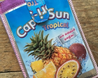 Capri Sun phonecase, Sparkly Cellphone sleeve, Glitter iPhone cover, Pink mobile pouch, iPod Touch cover, Samsung cell case, Cool upcycle