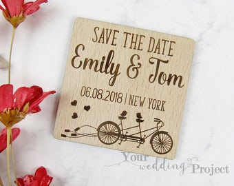 Love Birds Save the Date Magnet, Custom Engraved Save the Date, Wood Save the Date, Rustic Save the Date, Bicycle, Hearts, Fridge Magnet