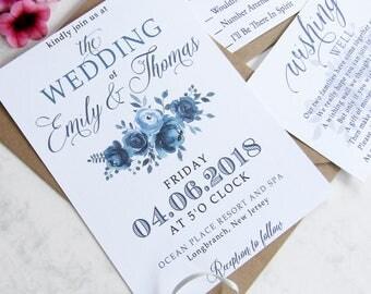 Navy Floral Wedding Invitation Set    Rustic Invitation, Custom Invitation Suite, Wedding Invitations, Modern Invitation, Blue Invitation