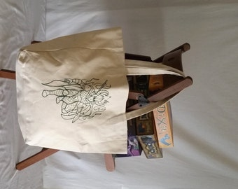 Embroidered Loki Design Canvas Tote Bag