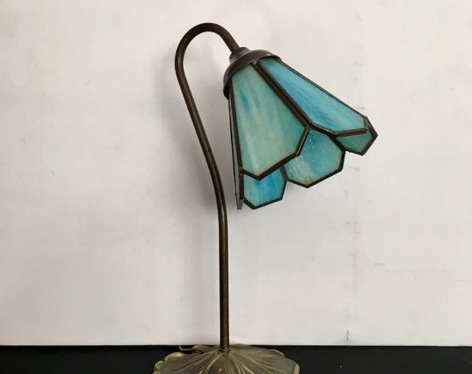 Storewide 25% Off SALE Vintage Oil Bronzed Blue Slag Glass Lily Pad Table Lamp Featuring Beautiful Goose Neck Stem Design