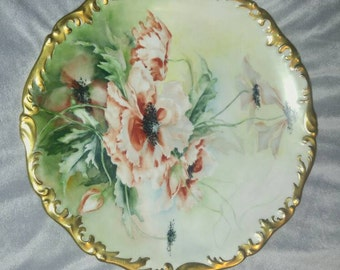 Very Beautiful, and early (possibly late 1800's), Tressemann Vogt (T&V) Limoges France Large 13.5 Inch Flower Motif Serving Plate