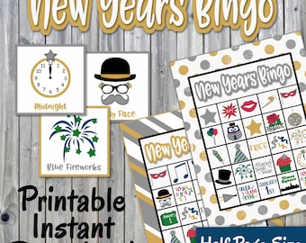 New Years Bingo Printable Game - 30 different Cards - New Years Eve Memory Game - Party Game Printable - INSTANT DOWNLOAD
