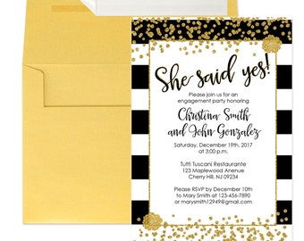 Engagement Party Invitations - Black and Gold Glitter Engagement invitation - She Said Yes - Engagement 101