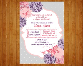 Colors customized for You Butterfly Baby Shower Invitation or Butterfly Birthday Invitation pink and purple Digital File printable