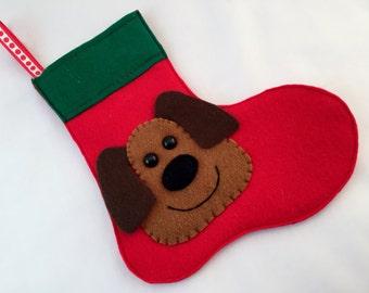 Dog Stocking, Christmas Stocking, Felt Stocking, Pet Stocking, Stocking Decoration, Handmade Stocking, Red Stocking, Green Stocking