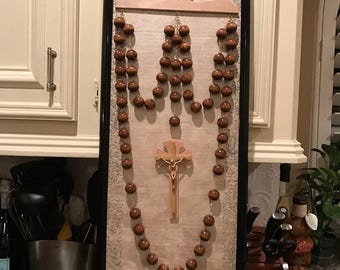 Beige Wall Rosary, hanger and frame set.