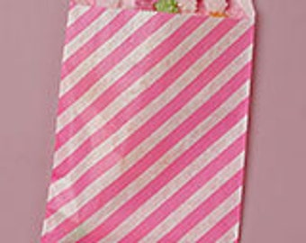 Striped paper bags, 10count, hot pink