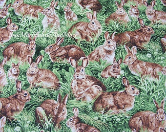 Rabbits Scenic Fabric~by the 1/2 yd~American Wildlife~Animals~Fabri-Quilt~Cotton~Jackrabbits~Country~Bunnie Rabbit