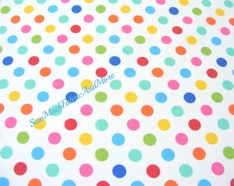 Back in stock-Mini Colorful Polka Dots Fabric~by the 1/2 yd~Windham Basic brights~cotton~white